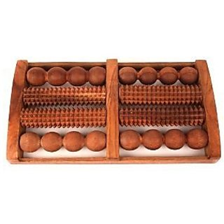 Onlineshoppee Wooden Foot Massager With Round And Spiked Rollers