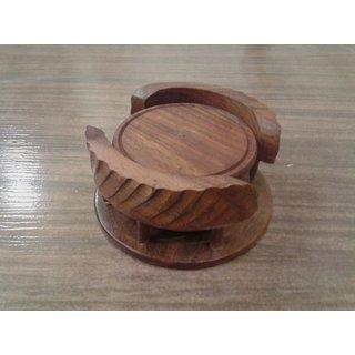 Onlineshoppee Wooden Tea Coaster Set (Option 2)