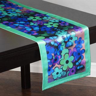 Lushomes Digital Printed Green Themed Polyester Table Runner