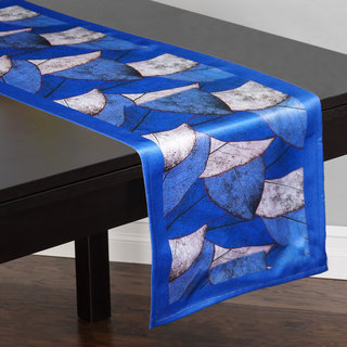 Lushomes Digital Printed Blue Themed Polyester Table Runner