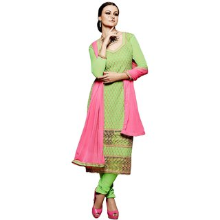 BanoRani Green Color Chiffon Embroidery UnStitched Dress Material (Chudidar)