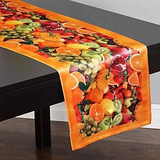 Lushomes Digital Printed Yellow Themed Polyester Table Runner