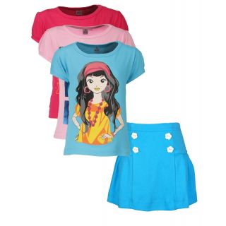 Gkidz Girls Pack of 3 Style Tshirts and Skirt Combo-(CMB30)