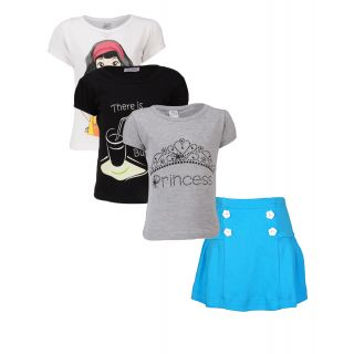 Gkidz Girls Pack of 3 Style Tshirts and Skirt Combo-(CMB36)