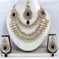 Black stone 3 line Wedding Necklace set