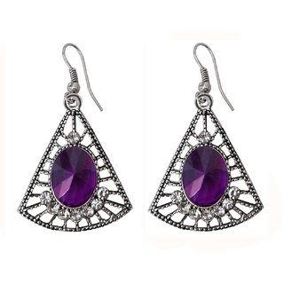 Purple and Silver Tone Black Metal Jhumki Earring for Women - 10026.5