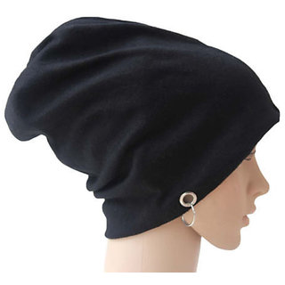 Black Beanie Cap with Ring for Men and Women