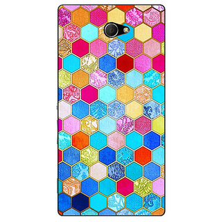 EYP Coloured Hexagon Pattern Back Cover Case For Sony Xperia M2 310225