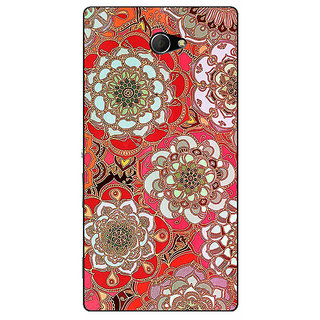 EYP Orange Flowers Pattern Back Cover Case For Sony Xperia M2 Dual 320258