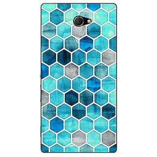 EYP Blue Hexagons Pattern Back Cover Case For Sony Xperia M2 Dual 320270