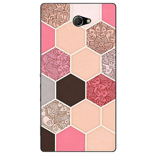 EYP Pink Hexagons Pattern Back Cover Case For Sony Xperia M2 Dual 320271