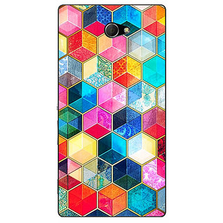 EYP Coloured Hexagons Pattern Back Cover Case For Sony Xperia M2 Dual 320275