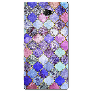 EYP Purple Moroccan Tiles Pattern Back Cover Case For Sony Xperia M2 Dual 320291