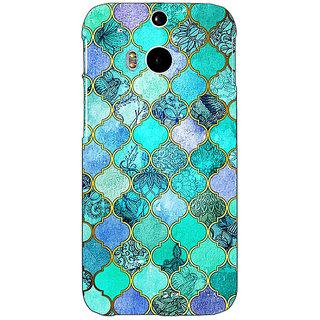 EYP Sky Blue Morocan Tiles Pattern Back Cover Case For HTC One M8 Eye 330292