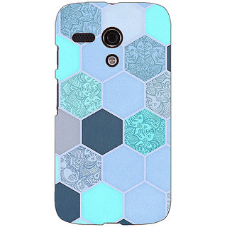 EYP Llight Blue Hexagons Pattern Back Cover Case For Moto G (1st Gen) 130272