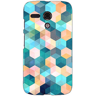 EYP Blue Hexagon Pattern Back Cover Case For Moto G (1st Gen) 130277