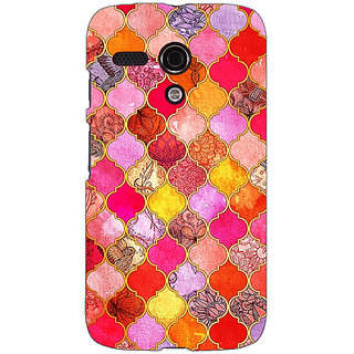 EYP Red Moroccan Tiles Pattern Back Cover Case For Moto G (1st Gen) 130289