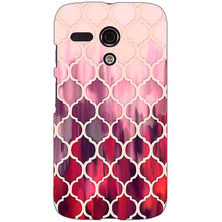 EYP White Red Moroccan Tiles Pattern Back Cover Case For Moto G (1st Gen) 130299