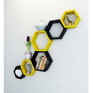 Onlineshoppee Set Of 6 Hexagon shape Designer Storage Shelves - Yellow Black