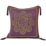 CHAKRI - Silk Lilac Cushion Cover With Circular Embroidery - Set Of 2