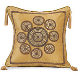 CHAKRI - Silk Beige Cushion Cover With Circular Embroidery - Set Of 2