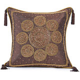 CHAKRI - Silk Wine Coloured Cushion Cover With Circular Embroidery - Set Of 2