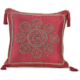 CHAKRI - Silk Deep Red Cushion Cover With Circular Embroidery - Set Of 2
