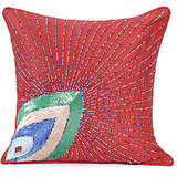 PANKHUDI - Red Polysilk Peacock Design Cushion Cover - Set Of 2