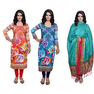 Indiweaves Women 2 Unstitched Kurti Fabric With Silk Duppatta (300525480817-IW)