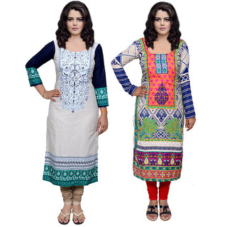 Indiweaves Women Cotton Pashmina PrintedKurti Fabric (3006630035-IW)
