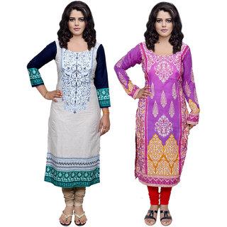 Indiweaves Women Cotton Pashmina PrintedKurti Fabric (3006630045-IW)
