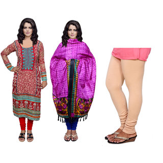 Indiweaves Offer -Unstiched Kurti With Dupatta  Leggings (300448084671502-IW)