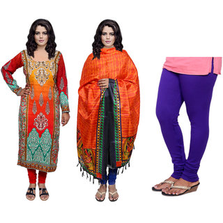 Indiweaves Offer -Unstiched Kurti With Dupatta  Leggings (300468084971500-IW)