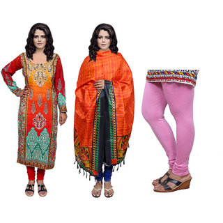 Indiweaves Offer -Unstiched Kurti With Dupatta  Leggings (300468084971512-IW)
