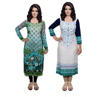 IndiWeaves White Printed Viscose Stitched Kurti
