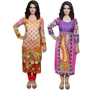 Indiweaves Women Viscose  Cotton Printed  Kurti Fabric (3005730068-IW)