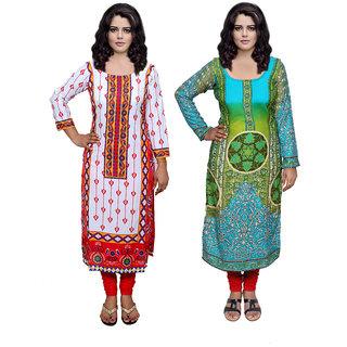 Indiweaves Women Cotton Pashmina PrintedKurti Fabric (3006130041-IW)