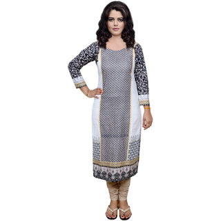 IndiWeaves Gray Printed Viscose Unstitched Kurti