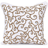 SPIRAL - White Pure Silk Hand Work Cushion Cover - Set Of 2