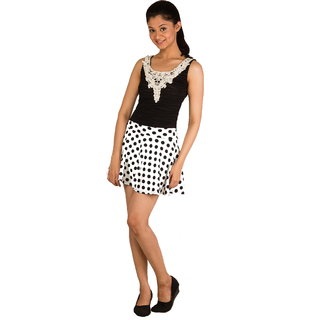 Mini Skirt  Short Skirt Puff Sheds Pleated(White+Dotted Design)