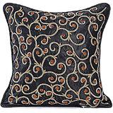 SPIRAL - Black Pure Silk Hand Work Cushion Cover - Set Of 2