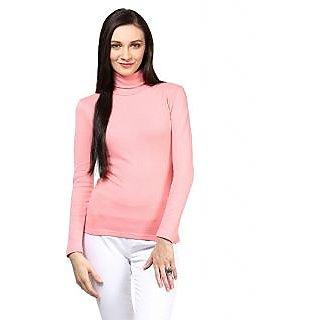 Hypernation High Neck Baby Pink Cotton Tshirt