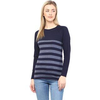 Hypernation Round Neck Blue With Grey Stripe Cotton Tshirt
