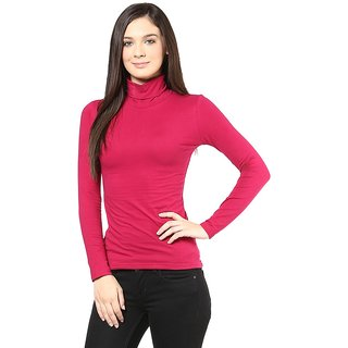 7eb2e97eed4aa 39%off Hypernation Turtle Neck Red Long Sleeve Cotton T-shirt