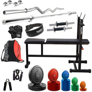 Headly Premium 68 Kg Coloured Home Gym + 14 Dumbbells + 2 Rods + 3 In 1 (I/D/F) Bench+ Gym Backpack Assorted +Gym Belt + Accessories