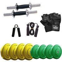 Headly Premium 18 Kg Coloured Rubber Weight +14 Dumbbell Rods with Star Nuts  + Accessories