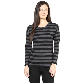 Hypernation Round Neck With Black Grey Stripe Long Sleeves Cotton T-shirt
