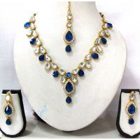 Dark Blue and White Drop Necklace set
