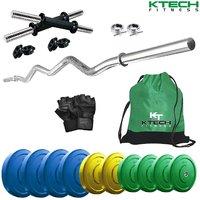 Ktech Premium 25 Kg Coloured Home Gym & 14 Dumbbells & Curl Rod & Gym Backpack & Accessories