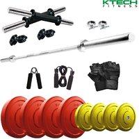 KTECH Premium 30 Kg Coloured Home Gym + 4 feet plain Rod (Shoulder/Bicep) + 14 Dumbbells + + Accessories